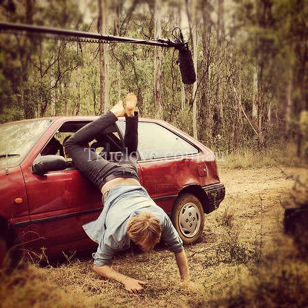 7.11.2012  Busy day.. Christmas portraits in the morning, on set as stills photographer in the bush in the afternoon. Actor Grant Cartwright performing his own stunts during the production of 'Test Drive'.  Link to the gallery of official stills: http://smu.gs/14NpT8L   © Tess Peni / Second Sight Productions