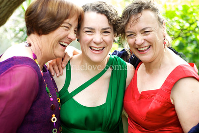 17.11.2012  An Irish back yard wedding in Coogee, the bride wore green, photographed with her sisters.  © Tess Peni