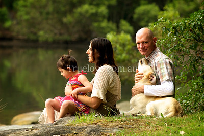 8.12.2012  Family portrait, Tambourine Bay. I love this sort of shoot, in a natural setting that the family feel a strong connection to. In and out in one hour which suits young kids, animals and shy folk.  © Tess Peni