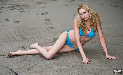 Blonde Wavy Hair Swimsuit Bikini Model Goddess with Pretty Blue Eyes