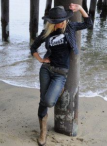 Cowgirl Model in Cowboy Boots