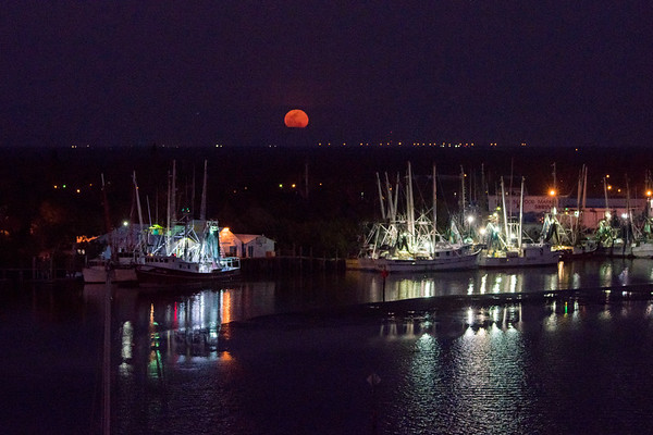 Blood Moon over San Carlos Island shrimp boat fleet