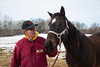 Stillwater, MN - Steve & Dorothy Erban of Premiere Stallions of Minnesota, owners of Kela, on their farm near the Twin  Cities. Steve Erban with Gentle Princess, dam of Tubby Time here today, Wednesday March 12, 2014.  Photo by © Todd Buchanan 2014 Technical Questions: todd@toddbuchanan.com