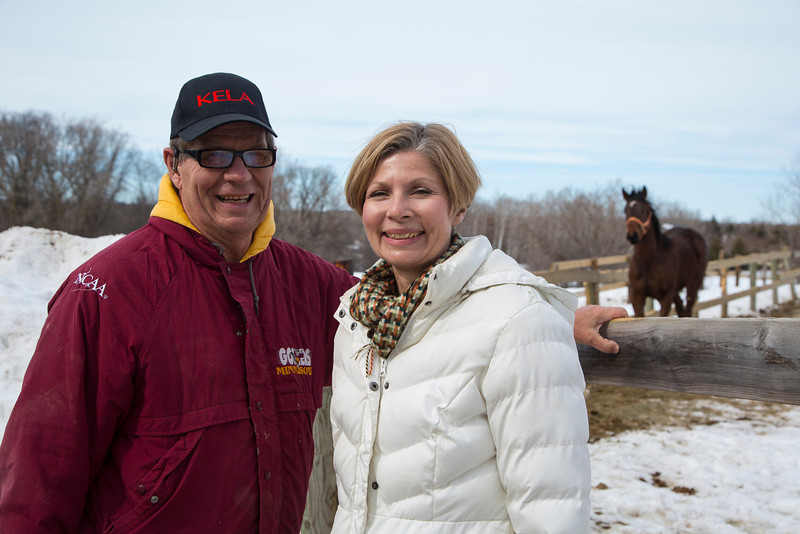 Stillwater, MN - Steve & Dorothy Erban of Premiere Stallions of Minnesota, owners of Kela, on their farm near the Twin Cities here today, Wednesday March 12, 2014.  Photo by © Todd Buchanan 2014 Technical Questions: todd@toddbuchanan.com