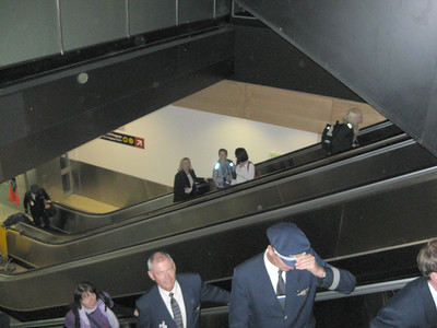 There he is on the far escalator