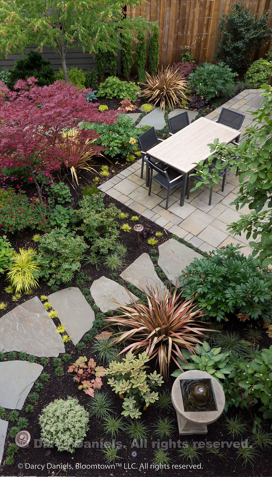 Garden Design including overall concept, design and plantings: Darcy Daniels, Bloomtown Gardens. Landscape construction: Tryon Creek Landscape.