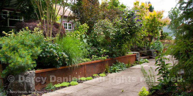 Steel retaining wall in the garden of Darcy Daniels. Garden Design: Darcy Daniels, Bloomtown Gardens. Construction: Pete Wilson Stoneworks and Rob Trautmann.