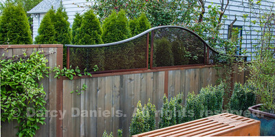 Graceful fence top embellishment fabricated in steel mesh and brushed stainless steel.  Garden Design: Darcy Daniels, Bloomtown Gardens. Fabrication of steel panel: Bamboo Craftsman.