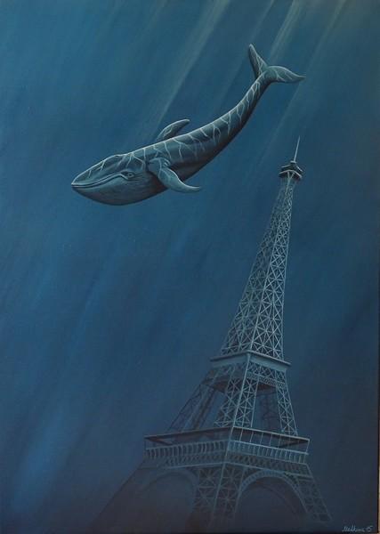 """Loneliness"" (acrylic on canvas) by Elena Malkova"