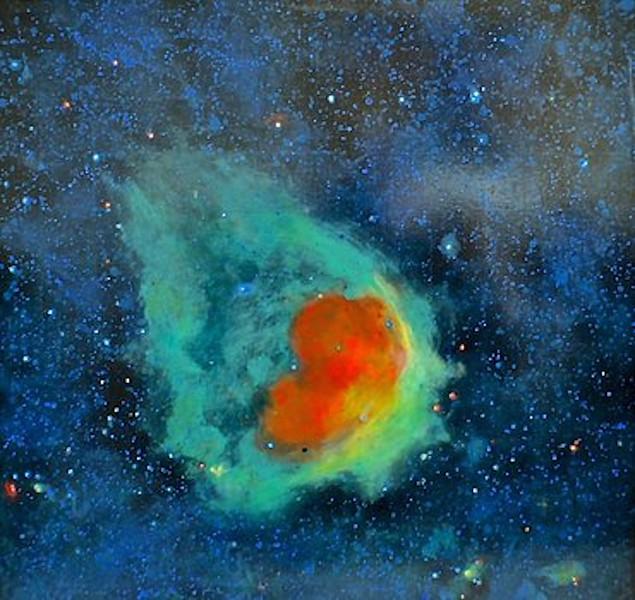 """Glowing Emerald Nebula"" (acrylic/canvas) by Jim Ellis"