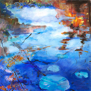 """Blue Lily Pads"" (oil on canvas) by Judith Austen"