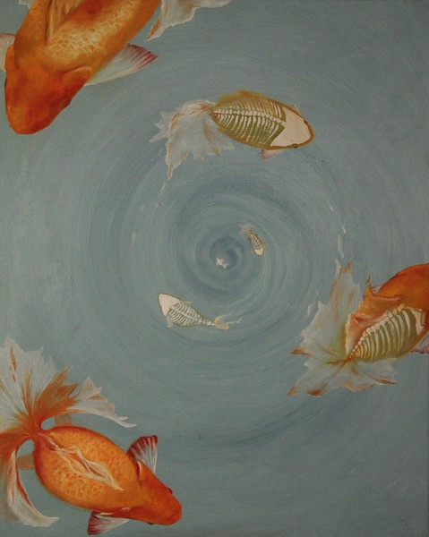 """Down the Drain"" (oil on canvas) by Sarah Kim"