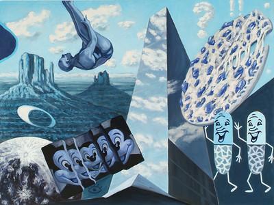 """""""Blu Bi U"""" (oil on canvas) by Hank Feeley"""
