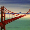 """""""Misty afternoon at the Golden Gate bridge"""" (acrylic on stretched canvas) by Preethi R"""