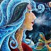 """Salmon Woman"" (acrylic on canvas) by Deborah J Milton"