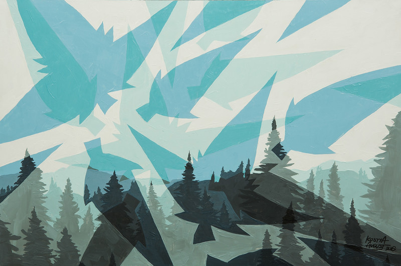 """""""Winter Forest"""" (acrylic on canvas) by Kostya August"""