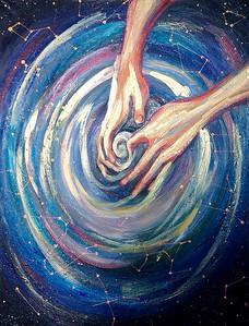 """""""Hands of Creation"""" (mixed media, canvas) by Tatiana Gladysheva"""