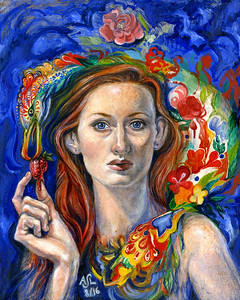 """Self Portrait"" (oil on panel) by Annelisa Leinbach"
