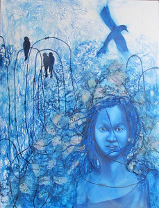 """Refugee Girl"" (mixed media) Norbert Gonsalves"