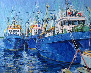 """Blue Ships"" (oil on canvas) by Ksenia Filippova"