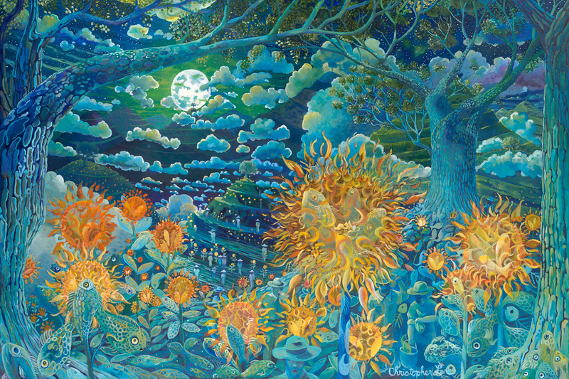 """""""Night Garden"""" (oil on canvas) by Christopher Lane"""