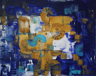 """Blue Gate"" (oil on canvas) by Elena Herzog"