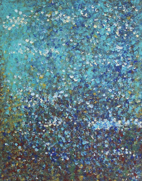 """""""Reflections In Blue"""" (acrylic) by Dawn Dillon"""