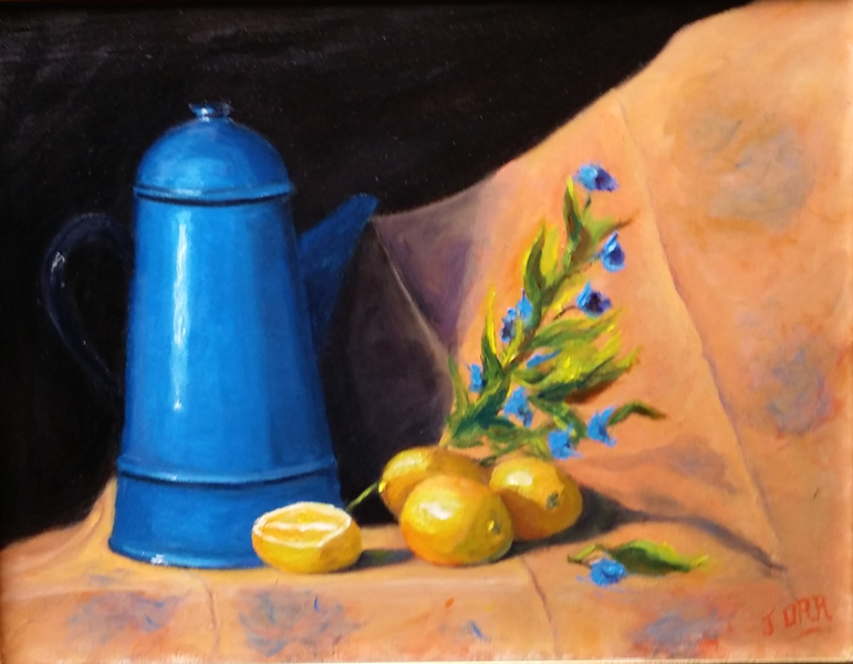 """""""Lemons and Pitcher"""" (oil on canvs) by John Orr"""