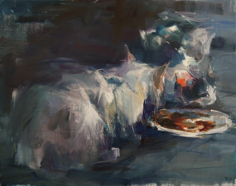 """Talking Over Dinner"" (oil on linen) by Yael Maimon"