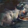 """Talking Over Dinner"" (oil on linen) by Yael Maimon"