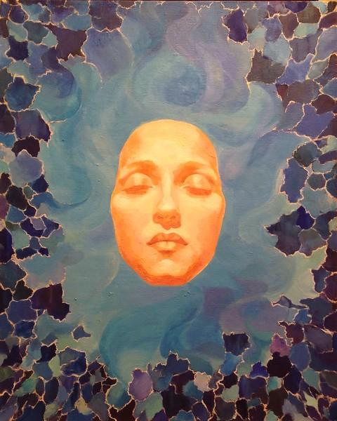"""Self-portrait. Meditation on blue"" (acrylic) by Nadezhda Grigorian"