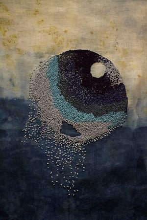 """Indigo Void"" (silk thread on distressed indigo-dyed linen) byJudy Duggan-McCormack"