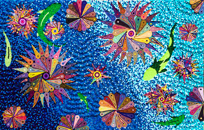 """""""Guiding Sight for We the Blind"""" (felt on canvas) by Xander Griffith"""