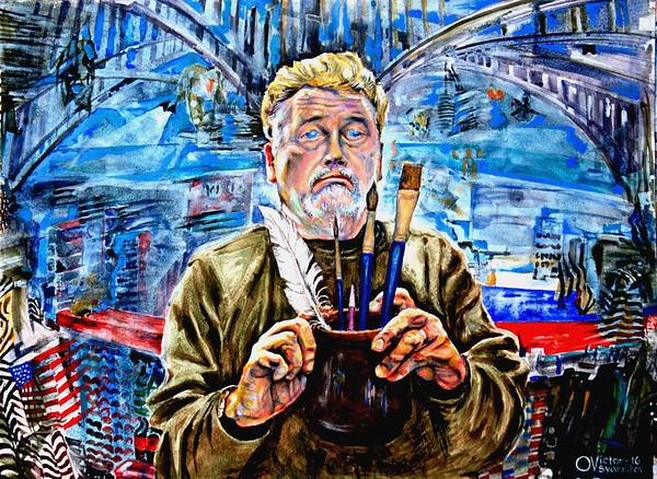 """""""Self-portrait"""" (acrylic on cardboard) by Victor Ovsyannikov"""