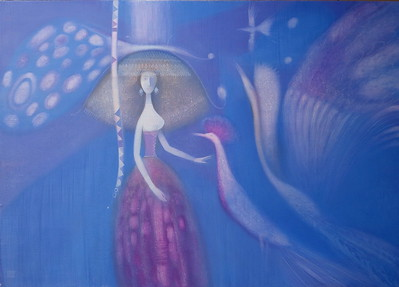 """Blu birds"" (oil on canvas) by Elena Grin"