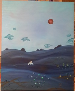 """""""A glass of Mojito breaking up the surface of the Pluto"""" (oil)  by Evgeny Fomichev"""