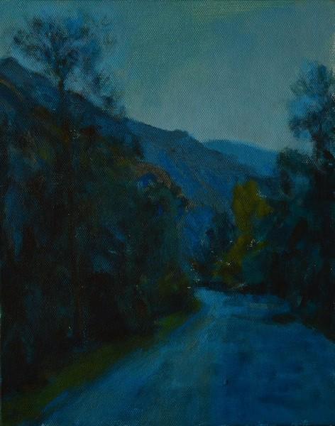 """Morning Blues"" (acrylic on canvas board) by Rajat Kumar"