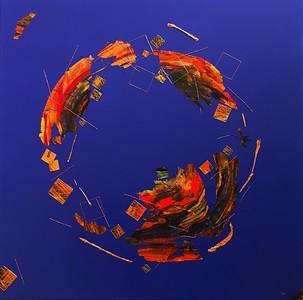 """""""Petrichor"""" (acrylic paint, spray paint, metallic/foil/cotton thread on canvas) by Lisa Batts"""