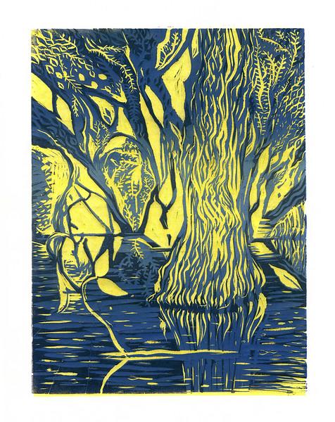 """Tree, East Rock Park, New Haven, Connecticut"" (Linoleum reduction print on rice paper) by Annelisa Leinbach"