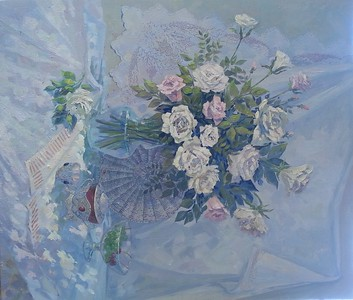 """Roses"" (oil) by Mariya Kuzmicheva"