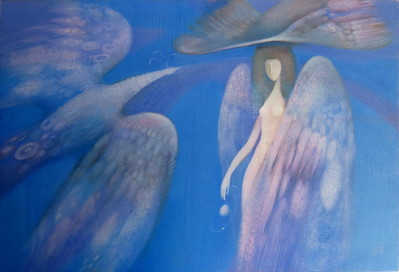"""""""Oriel ( The angel of fate)"""" (oil on canvas) by Elena Grin"""