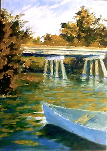 """The Blue Canoe"" (oil on panel, plein air) by Louis Degni"