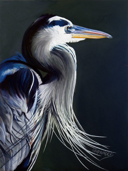 """Wistful Great Blue"" (pastel on Ampersand pastelbord) by Patsy Lindamood"