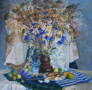 """Rye and cornflowers"" (oil) by Mariya Kuzmicheva"
