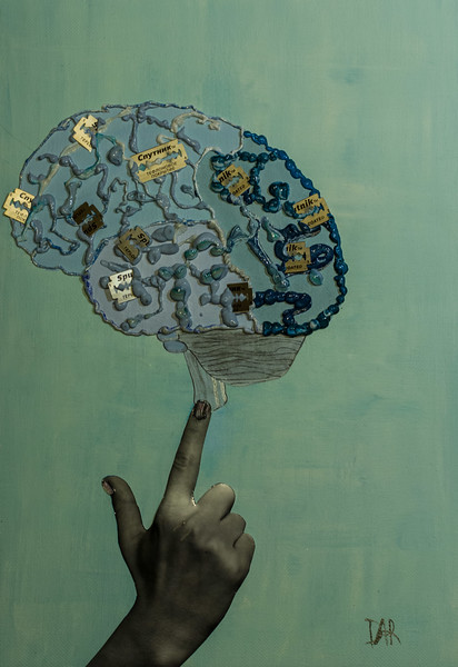 """""""Blue Brain with Chips"""" (mixed media: photo, embroidery, paint on canvas) by Katrin Dar"""