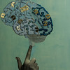 """Blue Brain with Chips"" (mixed media: photo, embroidery, paint on canvas) by Katrin Dar"