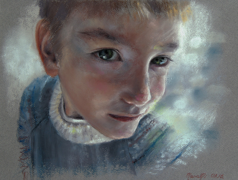 """""""Little dreamer"""" (soft pastel on paper) by Maria Mi"""