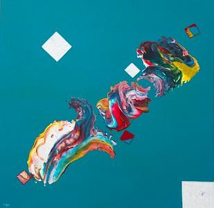 """""""Respond"""" (acrylic paint, cotton/silk thread on canvas) by Lisa Batts"""