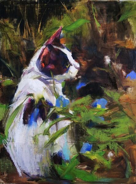 """In the Garden"" (oil on linen) by Yael Maimon"