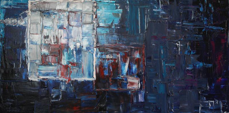 """Meta Square"" (oil on canvas) by Elena Herzog"